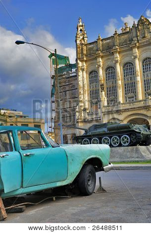 HAVANA - CIRCA AUGUST 2009: Detail from vintage car in front of Revolution museum, circa August 2009 in Havana. It was the Presidencial Palace before 1959.