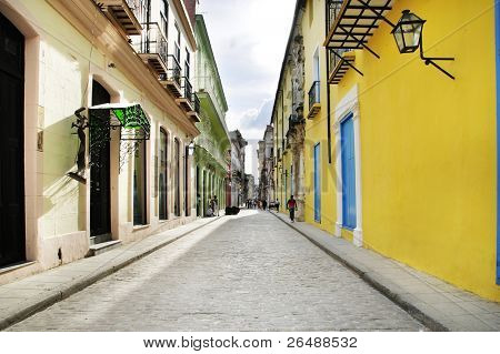 Empty Old Havana street with colonial building facades