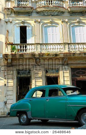 Detail of vintage classic car parked in shabby Old Havana street