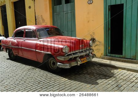 HAVANA - DEC 3: Old classic American car parked in a street of Havana. Most of them are now used as private taxi, December 3, 2008 in Havana, Cuba.