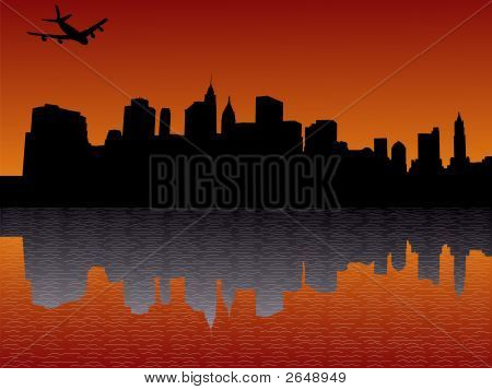 Plane Flying Over Lower Manhattan