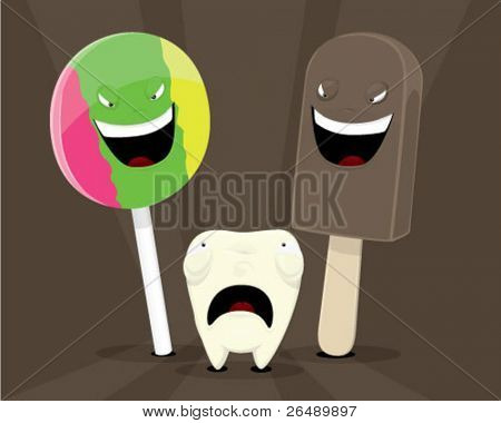 Tooth afraid to candies.