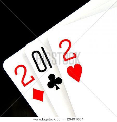 2012 written in playing cards