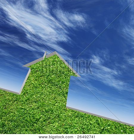 High resolution conceptual green grass house background over a sky, ideal for ecology, green or natural designs