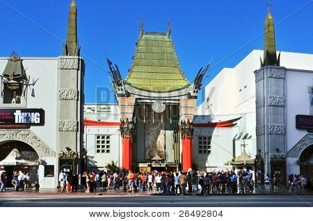 LOS ANGELES - OCTOBER 16: Grauman's Chinese Theatre on October 16, 2011 in Los Angeles, CA. There are nearly 200 Hollywood celebrity handprints, footprints and autographs in the concrete of its forecourt