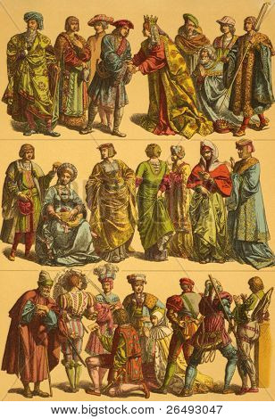 16th Century Netherlands Costumes. Engraved by Fr.Hottenroth and published in Trachten, Haus, Feld und Kriegsgerathschaften der Volker alter und neuer Zeit, Germany, 1890.