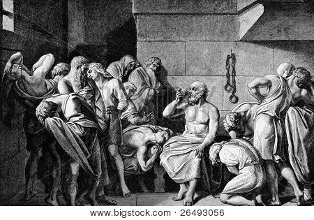 Socrates Drinking The Conium. Engraved by unknown engraver and published in Pictorial History Of The Worlds Great Nations, United States, 1882.