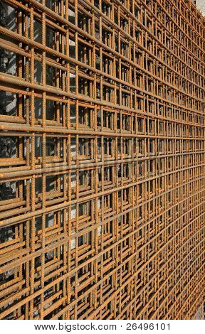 Metal reinforcing mesh used in the construction industry to reinforce concrete.