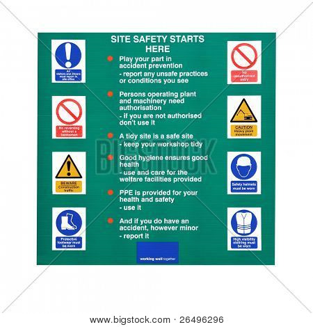 Building construction site sign with safety warnings and symbols, over white.
