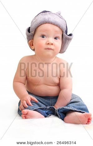 Cute Baby Boy In Cap With Ear-flaps (ushanka)