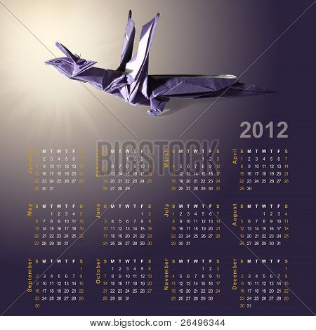 Symbol Of 2012 Year - Dragon Made From Paper (origami) And Calendar For Full Year