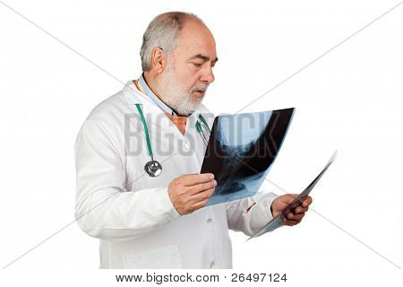 Senior doctor with hoary hair with x-rays isolated on white background