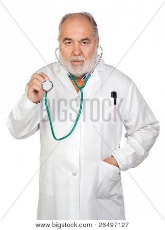 Senior doctor with hoary hair isolated on white background