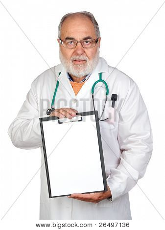 Senior doctor with clipboard and blank paper isolated on white background