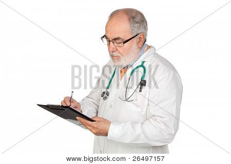Senior doctor with clipboard isolated on white background