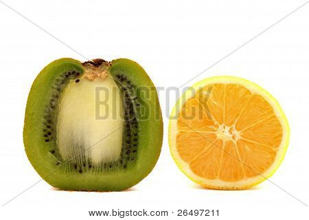 Kiwi fruit and lemon on a white