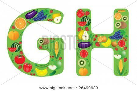 Vektor-Illustration von Obst und Gemüse