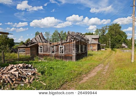 Old Wooden Houses In Russian Village