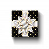 Gift Box 3d Top View, Isolated White Background. Silver Ribbon On Black Square Giftbox. Present Desi poster