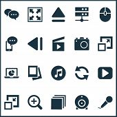 Media Icons Set With Comment, Web Cam, Monitor And Other Previous Elements. Isolated Vector Illustra poster