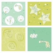 stock photo of happy baby boy  - Set of seamless backgrounds for design and baby scrapbook  - JPG