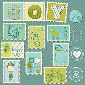 foto of happy baby boy  - Baby Boy Postage Stamps - JPG