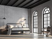 Loft Bedroom 3d Render,there Are White Brick Wall,polished Concrete Floor And Black Wood Ceiling.fur poster