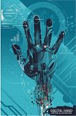 picture of cybernetics  - security concept with cybernetic hand - JPG