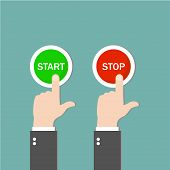 Start Button And Stop Button. Push The Buttons. Green And Red Buttons. Green Background. Vector Illu poster