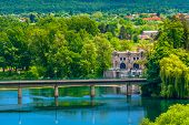 Aerial View At Fort In Old Croatian Town Ozalj, Croatian Historical Destinations. poster