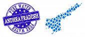 Map Of Andhra Pradesh State Vector Mosaic And Pure Water Grunge Stamp. Map Of Andhra Pradesh State C poster