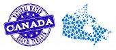 Map Of Canada Vector Mosaic And Pure Water Grunge Stamp. Map Of Canada Formed With Blue Water Tears. poster