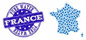 Map Of France Vector Mosaic And Pure Water Grunge Stamp. Map Of France Composed With Blue Water Dews poster