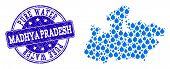 Map Of Madhya Pradesh State Vector Mosaic And Pure Water Grunge Stamp. Map Of Madhya Pradesh State C poster