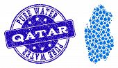 Map Of Qatar Vector Mosaic And Pure Water Grunge Stamp. Map Of Qatar Composed With Blue Water Drops. poster