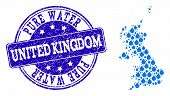 Map Of United Kingdom Vector Mosaic And Pure Water Grunge Stamp. Map Of United Kingdom Created With  poster