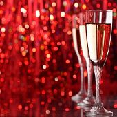 pic of champagne glass  - champagne glass in holiday light - JPG