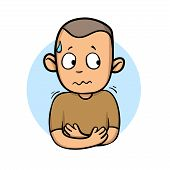 Sick Guy Shivering And Sweating. Feeling Unwell. Cartoon Design Icon. Flat Vector Illustration. Isol poster