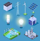 Electric Power Isometric Icons. Energy Generator, Solar Panels And Thermal Power Plant, Hydropower S poster