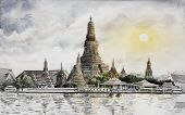 Panorama View. Wat Arun Temple At Sunset In Bangkok Thailand. Watercolor Painting Landscape Of Archi poster
