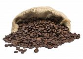 Roasted Coffee Beans Falling Out Of A Burlap Sack. Sackcloth Bag With Coffee Beans, Isolated On Whit poster