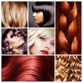 stock photo of wig  - Hair Collage - JPG