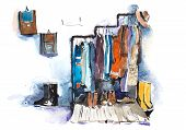Clothing Store Shelving And Display Of Clothes. poster