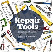 Repair Tools Banner In Hand Drawn Style. Top View Mechanic Instruments Vector Illustration. Repairs  poster