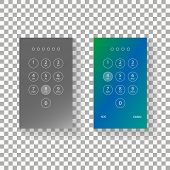 Screen Lock Authentication Password Smartphone Background Template. Vector Phone Id Recognition Scre poster