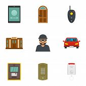 Finance Security Icon Set. Flat Set Of 9 Finance Security Vector Icons For Web Design poster