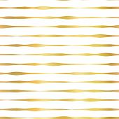 Gold Foil Hand Drawn Horizontal Lines Seamless Vector Pattern. Golden Wavy Irregular Stripes On Whit poster