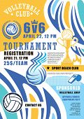 Volleyball Game Tournament Poster. Vector Volleyball Ball And Victory Cup With Wings And Fire Flame  poster
