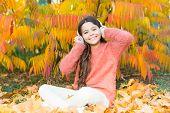 Music Is My Love. Happy Little Girl In Autumn. Little Girl Listen To Music. Happy Child Wear Headpho poster