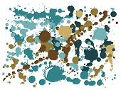 Watercolor Paint Stains Grunge Background Vector. Hipster Ink Splatter, Spray Blots, Dirt Spot Eleme poster